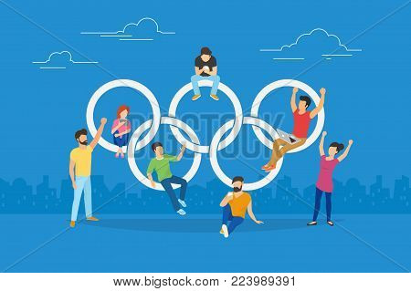 JANUARY 29, 2018: Vector illustration of Olympic rings. Flat people using laptop and mobile smartphone for watching live stream of Olympic games. Young fans attend a game via online streaming service