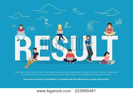 Result achievement concept vector illustration of business people using devices for working, project development and growth. Flat concept of professionals using laptop for success deals and teamwork