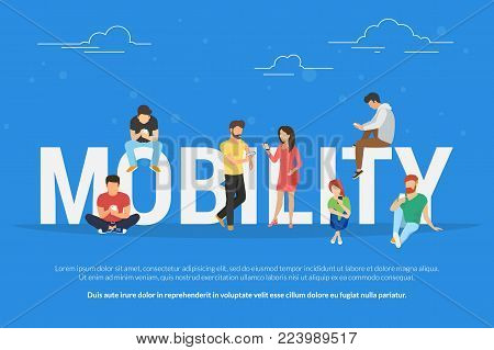 Mobility concept vector illustration of young people using mobile smartphones and apps for mobile services, social networks and ecommerce. Flat design of guys and women standing near big letters