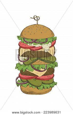 Colorful linear drawing of a big burger with double cutlet. For design, packaging and cards