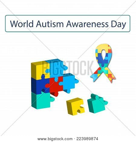 Puzzles and Ribbon with World Autism Day. Vector illustration on isolated background