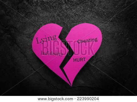 Broken pink heart on with Lying and Cheating related messages