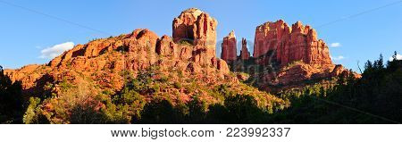 A panorama view of Sedona's Cathedral Rock as viewed from the western section of Templeton Trail.