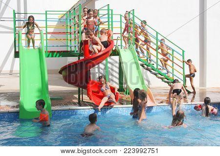 Aquapark AQUADROM, UKRAINE - JUNE 22, 2016: Water slide at Aquapark AQUADROM, Dnepr. 10 Attractions, 3 swimming pools and grill bar - kids zone