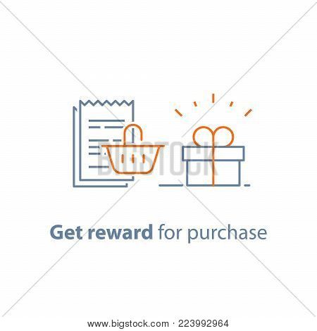 Earn points and get reward, loyalty program, marketing concept, small gift box and till slip with shopping basket, vector line icon, thin stroke illustration