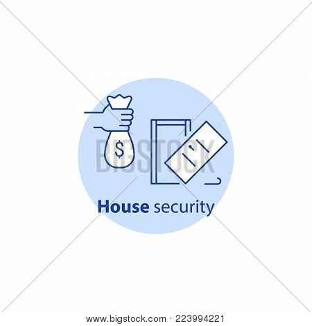 House burglary, break in home, security service, guard system, robbery prevention, intrusion protection, property insurance, pick up door lock, vector line icon