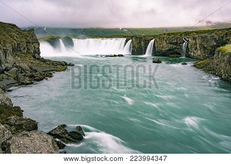 Gorgeous Godafoss waterfalls in north Iceland. Slow shutter speed, silk effect