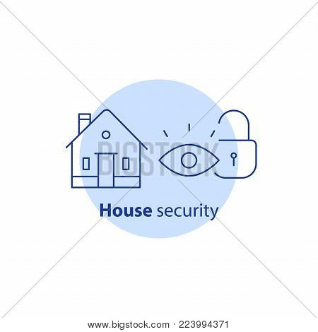 Home security service, house video surveillance, alarm guard system, robbery prevention, intrusion protection, property break in, burglary insurance concept, vector line icon