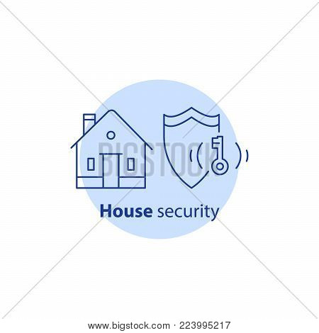 Home security service, house alarm guard system, robbery prevention, intrusion protection, property break in, burglary insurance concept, vector line icon
