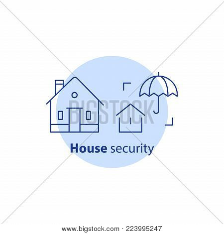 Home security service, house guard system, robbery prevention, intrusion protection, property break in, burglary insurance concept, umbrella vector line icon