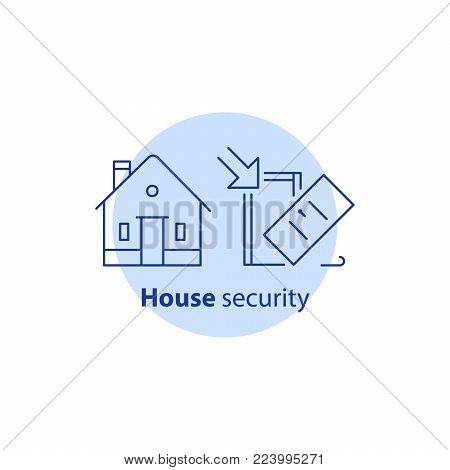 Home security service, house guard system, robbery prevention, intrusion protection, property break in, burglary insurance concept, pick up door lock, vector line icon