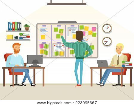 Team leader make planning tasks on the board. Whiteboard task development, developer and teamwork process planning, vector illustration