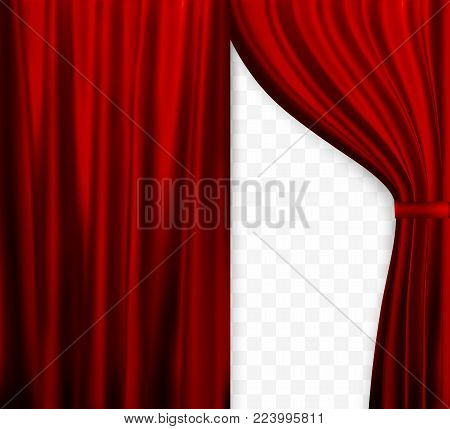 Naturalistic image of Curtain, open curtains Red color on transparent background. Vector Illustration. EPS10