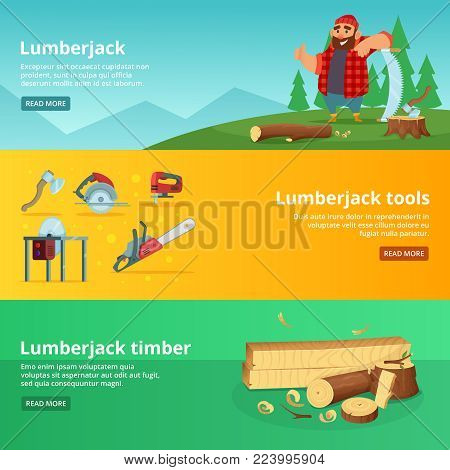 Horisontal banners of sawmill theme. Vector lumberjack tools and timber illustration