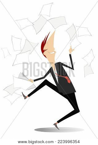 Happy man tossing papers, excited about something illustration. Man or businessman glad of the end of work and throws up to the air a bag and document isolated illustration