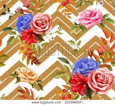 Flowers and leaves floral vintage retro wedding fashion seamless pattern with hibiscus rose bouquet blossoms blooming. Vector illustration, wallpaper background with geometric figure stripes
