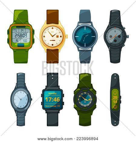 Classic and sport hand watches for men and women. Pictures in cartoon style. Time clock, wrist watch sport and fashion gadget. Vector illustration