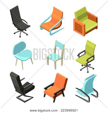 office furniture different chairs and armchairs from leather isometric pictures office seat chair isometric furniture vector collection a81 vector