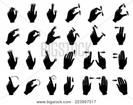Monochrome illustrations of gestures to control electronic devices with touchscreen. Gesture finger and hand touchscreen vector