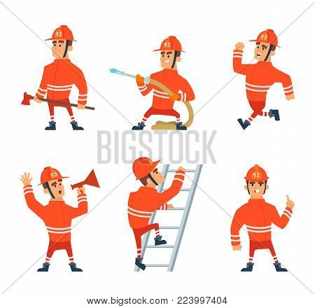 Fireman on the work. Different action poses cartoon fireman character, firefighter man in uniform, vector illustration