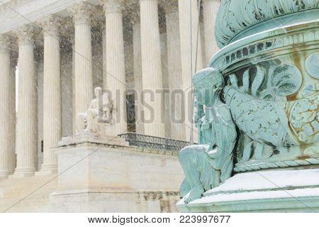 United States Supreme Court building in a blizzard - Washington DC, United States