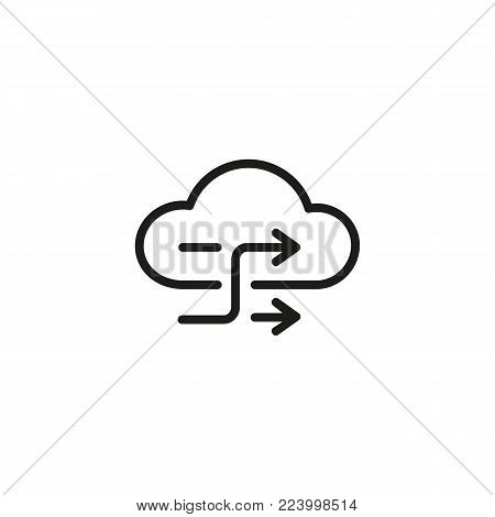 Icon of cloud exchange with arrows. Backup, data, synchronization. Data exchange concept. Can be used for topics like information technology, storage, connection.