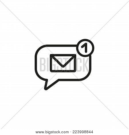 Notification of new message line icon. Email, sms, speech bubble. Communication concept. Can be used for topics like mail, chatting, mobile app.