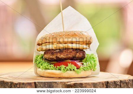 Hamburger on stick close up. High quality big hamburger on stick, closeup.