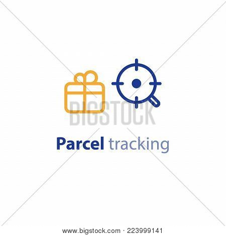 Search box delivery services, shipping parcel, shipment options, vector line icon set