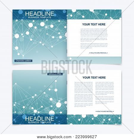 Scientific templates square brochure, magazine, leaflet , flyer, cover, booklet, annual report. Scientific concept for medical, technology, chemistry Structure molecule and communication Dna atom