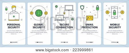 Vector set of vertical banners with Personal security, Global security, Secure connection, Email protection, Mobile security website templates. Modern thin line flat style design.