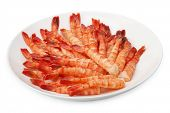 a lot of tiger shrimp on a plate isolated on white poster
