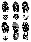 Footprint icons isolated on white background. Vector art. Collection of a imprint soles shoes. Footprint sport shoes big vector illustration set. poster