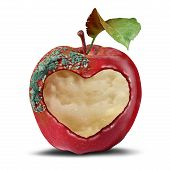Relationship loss as a breakup and separation psychological mood metaphor as a rotting apple with a heart in a 3D illustration style. poster