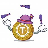 Juggling Tether coin mascot cartoon vector illustration poster