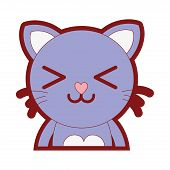 line color happy cat adorable feline animal vector illustration poster