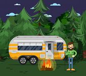 Tourist camp poster with man, bonfire and travel trailer in deep forest. Car RV trailer caravan, compact motorhome, mobile home for country traveling and outdoor family vacation vector illustration. poster