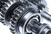 A close up detail shot of metal cogs, bearings, and gear shafts. poster