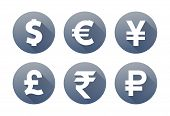 Currency flat vector symbol set. Icons with images of currencies different countries dollar sign, euro sign, pound sterling sign, yen sign, yuan sign, ruble sign poster