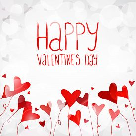 Vector light background with red hearts. You can use for greeting cards, posters and design projects.
