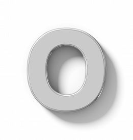 letter O 3D silver isolated on white with shadow - orthogonal projection - 3d rendering