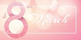Greeting card for March 8. Happy women's day. Big number 8 from pink glitters. Pink ribbons. Light banner frame with white text. luxurious banner. Poster for 8 march. Vector illustration