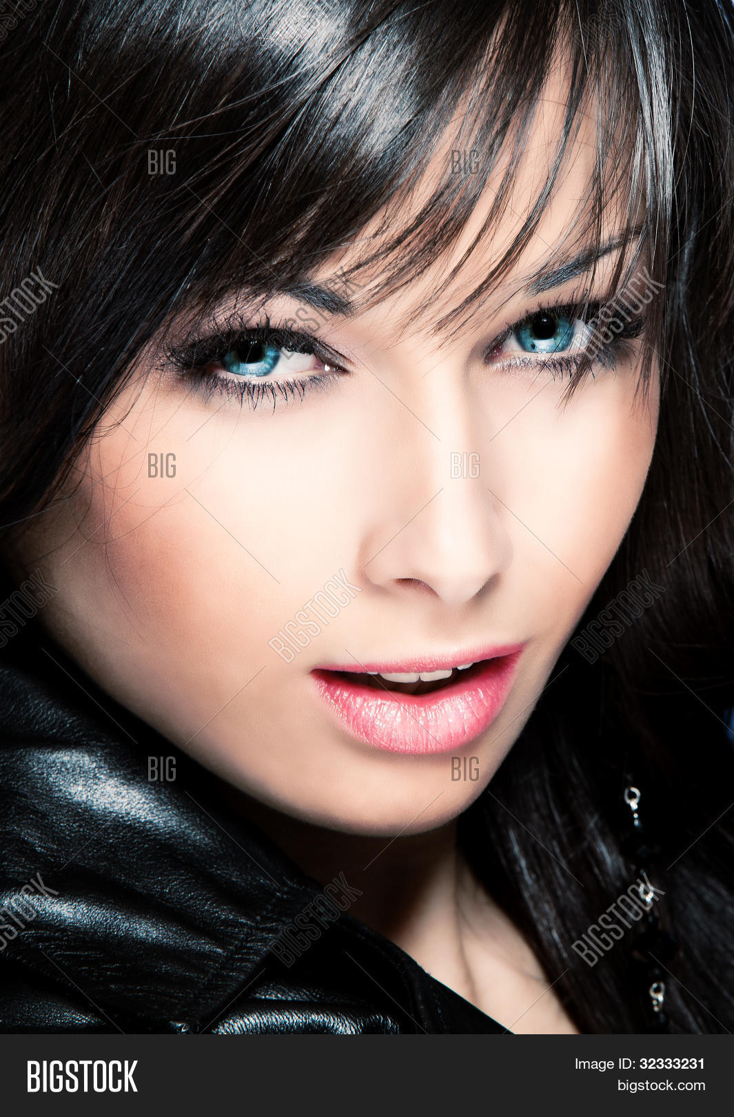 black hair blue eyes woman