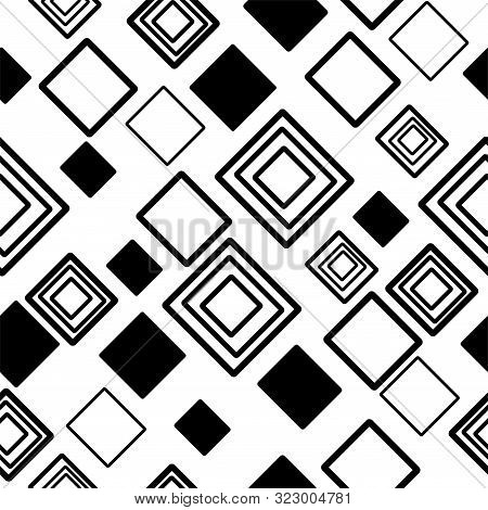 Square Hand Drawn Black And White Pattern Seamless On White Background-04