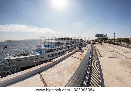 Passenger Ship Alexander Suvorov Moored At The Pier Of The Central Embankment Of Volgograd Opposite