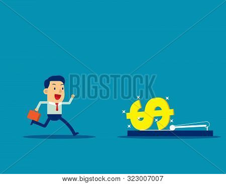 Businessman Running Into Mousetrap. Concept Business Vector Illustration, Money And Currency, Trap,