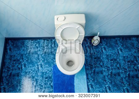 Toilet Bowl In The Toilet, Toilet Brush On The Side. Blue Floor In The Toilet