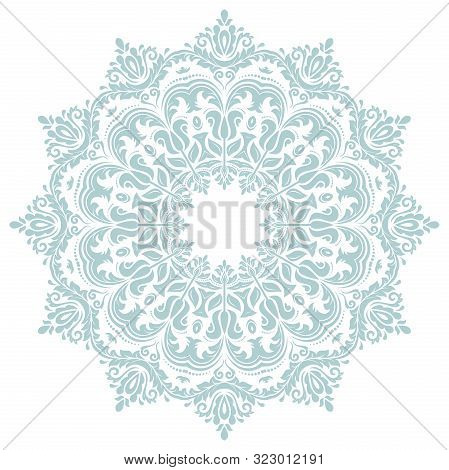 Oriental Vector Light Blue Round Pattern With Arabesques And Floral Elements. Traditional Classic Or