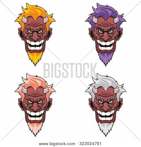 Set Of Devil Heads With Different Hairstyles.