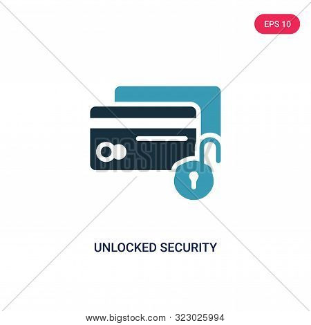 unlocked security of cit transaction icon in two color design style. poster